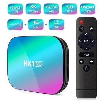HK1 BOX Android 9.0 Smart TV Box Amlogic S905X3 4GB RAM 64GB ROM 5G WIFI Bluetooth 4.0 8K Set Top Box Media Player