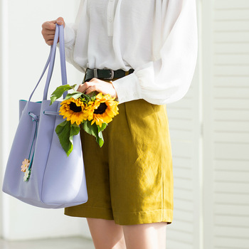 Womens shorts 2020 spring summer new bright color Korean linen comfortable high waist loose casual white A word