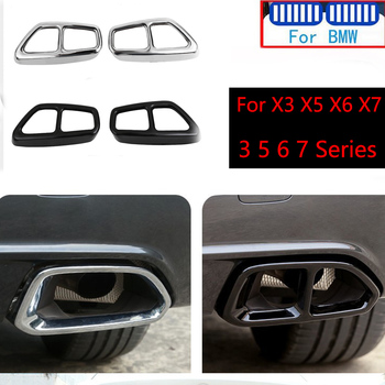 2PCS Stainless Car Rear Dual Exhaust Pipe Cover Trims For BMW 3 5 7 6 X3 X5 X6 X7 G30 G28 G11 G12 F01 G01 G05 F15 G07 F16 F85 GT image