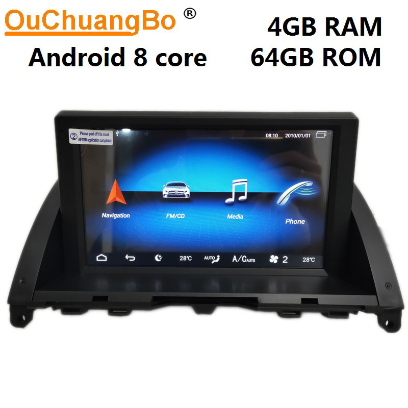 Ouchuangbo android 9.0 audio radio recorder für 8 zoll <font><b>mercedes</b></font> Benz C W204 <font><b>S204</b></font> C220 C300 2007-2011 autoradio gps 4GB + 64GB image