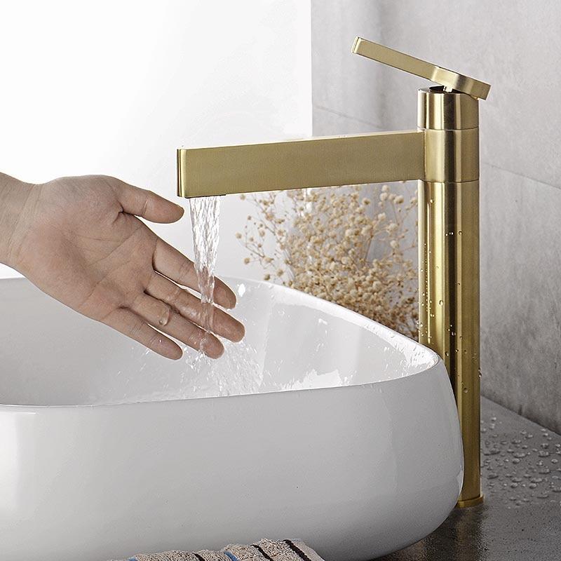 Смеситель для ванной комнаты из матового золота и латуни, Смеситель для холодной и горячей воды на палубе, черный/золотой/хром/розовое золото|Смесители для бассейна| | АлиЭкспресс