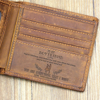 """TO MY BOYFRIEND""--Custom Leather Wallet,Engraved Gifts for men on Birthday,Valentine's Day,Christmas Day Drop Shipping"