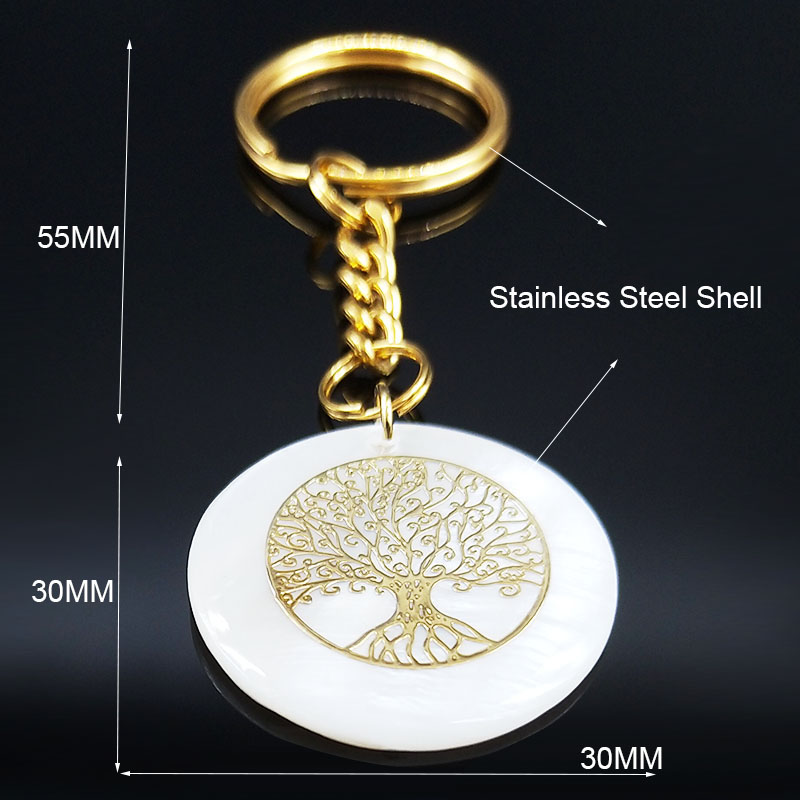 2019 Fashion Tree of Life Stainless Steel Shell Purse Charms for Men Gold Color Keyring Jewelry llaveros para hombre K77693B in Key Chains from Jewelry Accessories