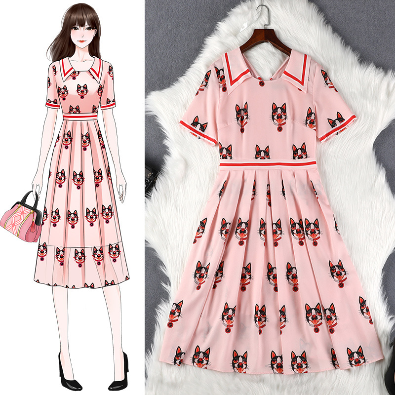 Lan Mu Square Large Size WOMEN'S Dress By Age Summer Fat Mm Chiffon Loose-Fit Slimming Printed Pleated Skirt 10401