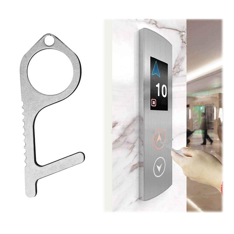 Contactless Hand Hygiene Antimicrobial EDC Door Opener Elevator Handle Key Safety Isolation Brass Key Door Opener