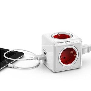 Image 3 - Allocacoc powercube euプラグ電源ストリップ2 usb 1.5メートル3メートルケーブル電気エクステンダーtシャツ拡張子マルチソケットアダプタ4ポート