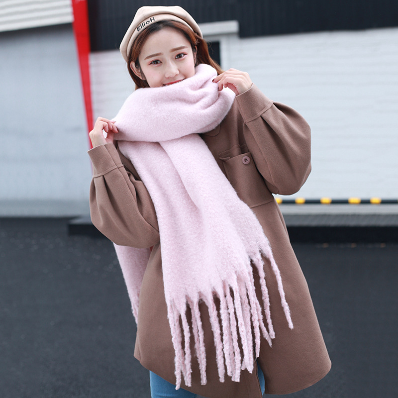 New Style Solid Color Chunky Shall Scarf Dongdaemun Hot Selling Japanese Korean Warm Scarf Unisex Men And Women