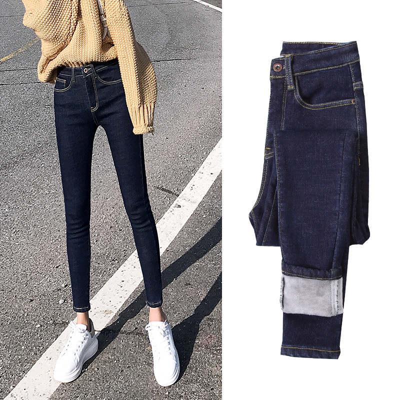 2019 Fleece Jeans For Women Sexy Stretch Thickening Solid Jean Skinny Denim Pencil Pants Warm Jean Plus Size Streetpant P9181