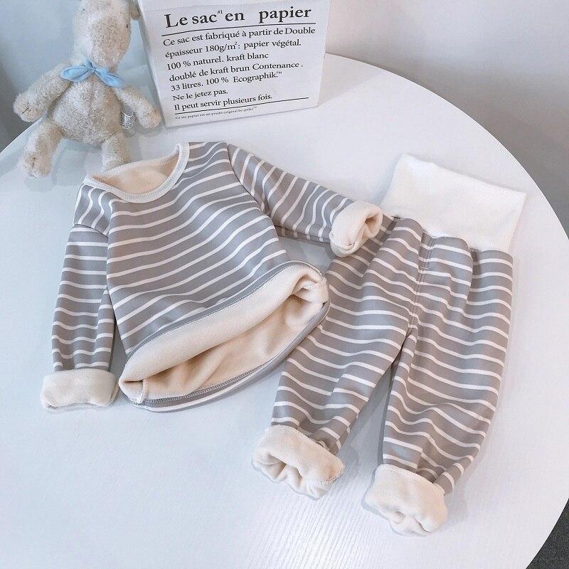 stripe pajamas set long sleeve tshirt+pant kids boy girl pijamas clothes high waist sleepwear Toddler pyjamas children winter 6