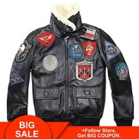 2020 Lovers TOP GUN Genuine Leather Pilot Jacket Wool Collar Real Thin Sheepskin Leather Pilot Coat Plus Size 5XL Can Customized