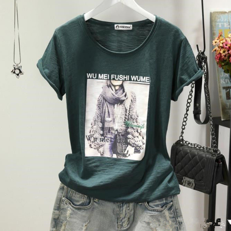 Slub cotton printing Tshirt Women Cartoon short sleeve T-shirt 2020 casual Tops Female Tee shirt summer fashion Tshirt New white