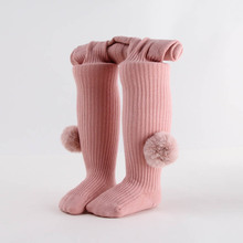 Cute Pompom Baby Girl Tights Solid Color Soft Pantyhose Princess Warm Autumn Winter Newborn Tights Infant Stockings