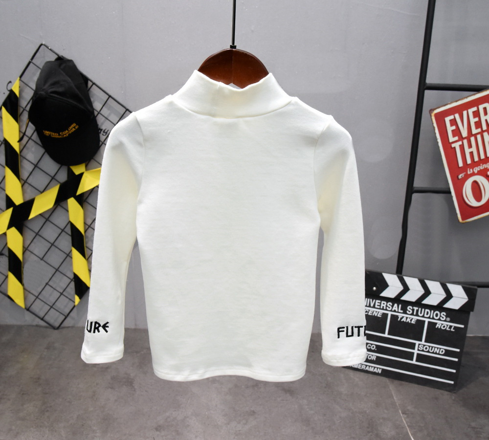 New Autumn Boys T Shirt Fashion Kids T Shirt For Boy Cotton long Sleeve Baby Girls Embroidered T-shirt with high collar 3