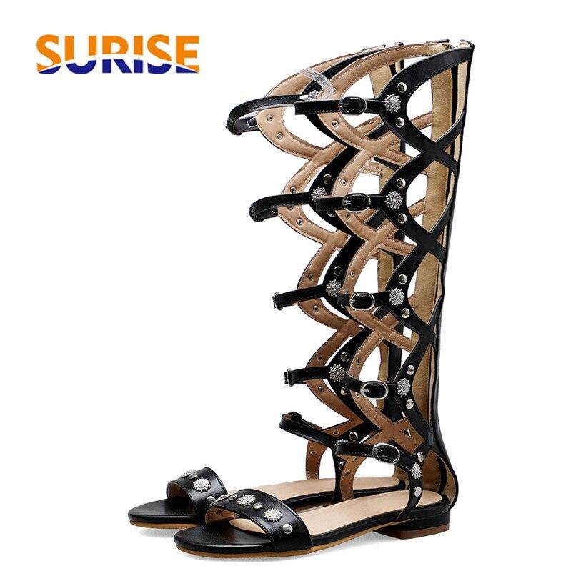 Women Knee High Gladiator Sandals Low Block Heel Black Brown Button Rivet Buckle Strap Casual Party Summer Zipper Femme Sandalia