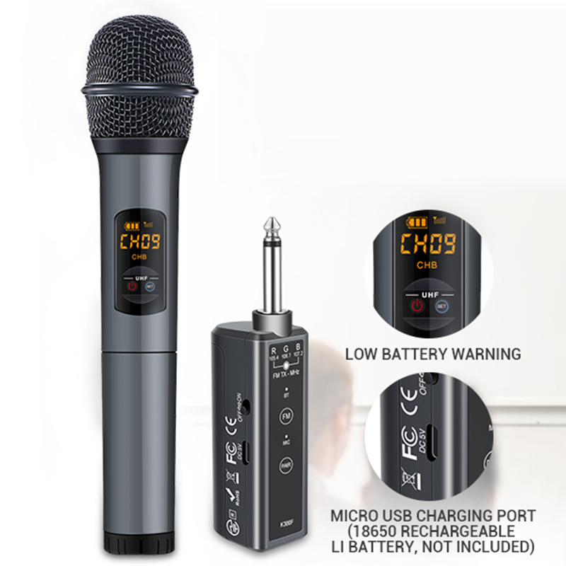 Bluetooth Wireless Microphone System With Portable Rechargeable Receiver 1/4'' Output 10 Channel UHF Microphones Cordless Mic