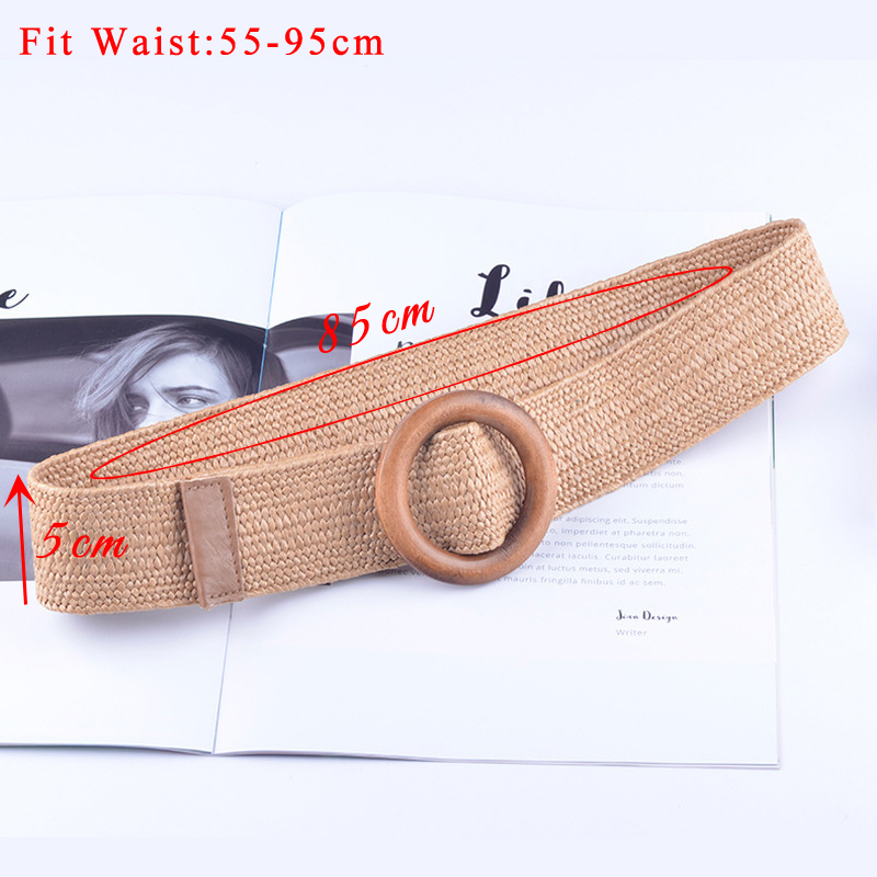 Round Wooden Buckle Dress Belt For Women Casual Female Braided Wide Strap Female Designer Woven Girls