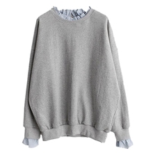 Women Spliced Long Sleeve Pullovers Tops Autumn Fake 2 Pieces Sweatshirts Casual Loose x