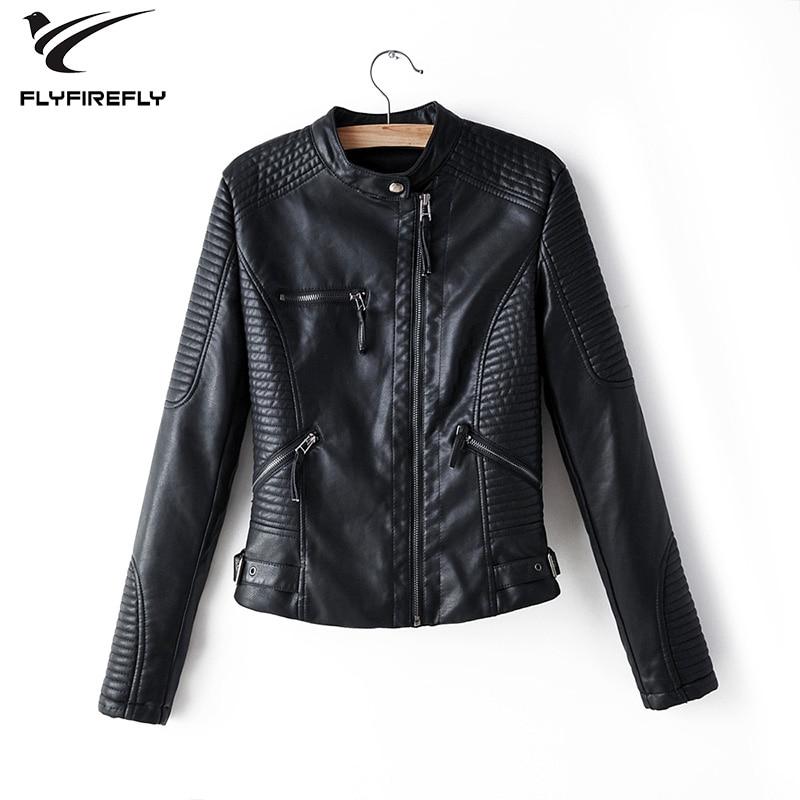 Black   leather   jacket women zipper faux   leather   coat white biker jacket long sleeve streetwear Korean Motorcycle pu jacket 2019