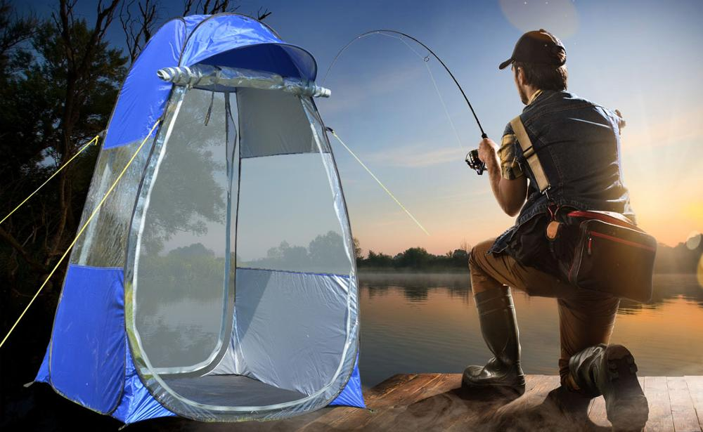 Outdoor Movable Winter Fishing Tent with Special Cap Brim Portable Privacy Shower Toilet Tent Hiking Tent Photography Roof Tent