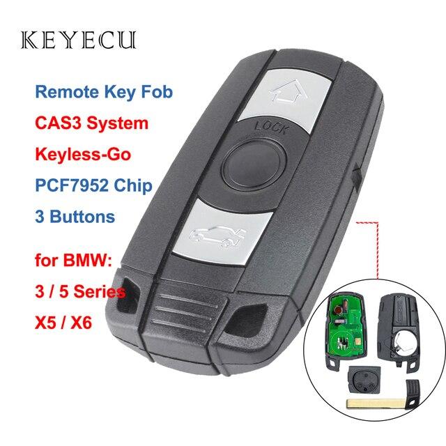 Keyecu keyless go chave remota inteligente, completa, 315mhz/868mhz, pcf7952, para bmw cas3 3/5 série x5 2006 2011