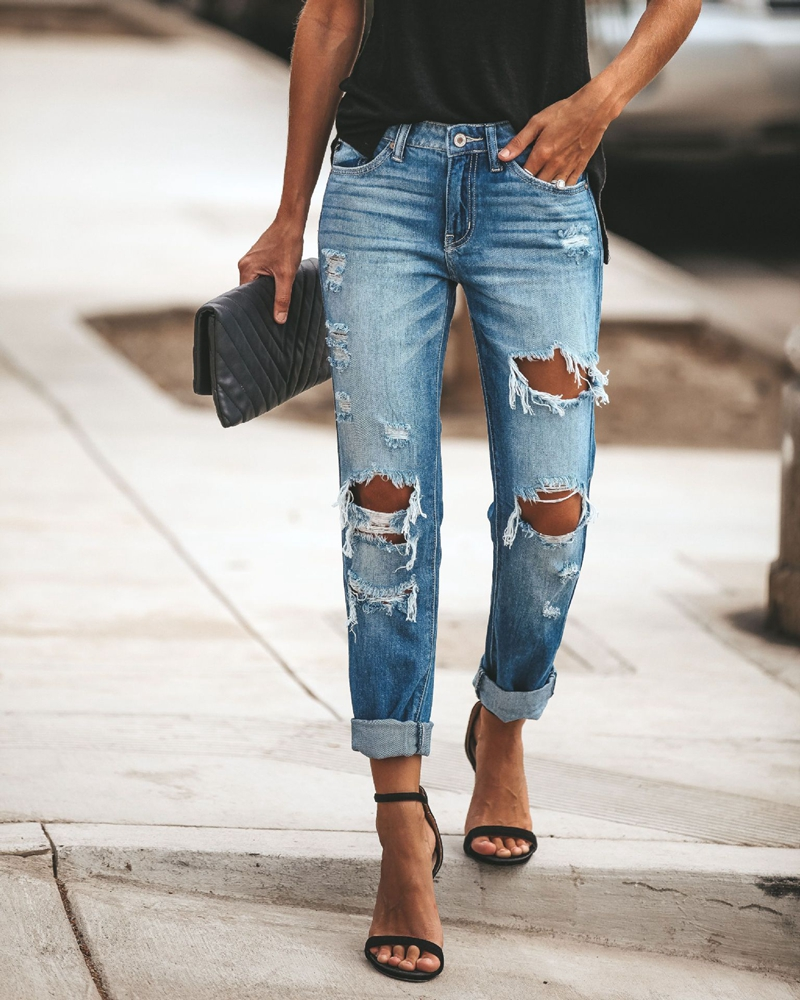 2020 New Women Fashion Mid Waist Boyfriend Big Ripped Hole Jeans Casual High Street Denim Pants Sexy Vintage Pencil Calca Jeans
