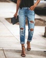 2020 nova moda feminina meados de cintura namorado grande rasgado buraco jeans casual high street denim calças sexy lápis do vintage calca jeans