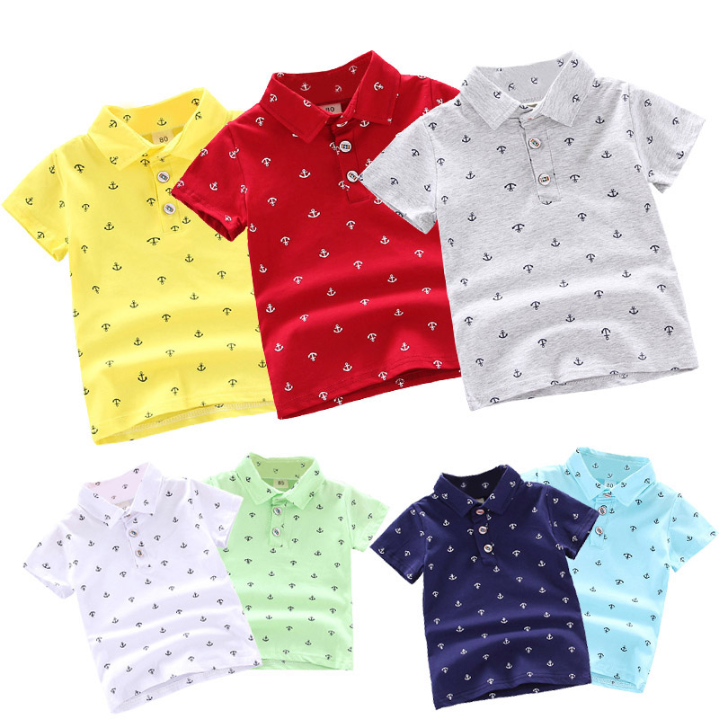 Summer Polo Shirt Baby Boys Girl Short Sleeve Lapel Clothes Kids Cotton Print Breathable Tops Children's Clothing YQJM01