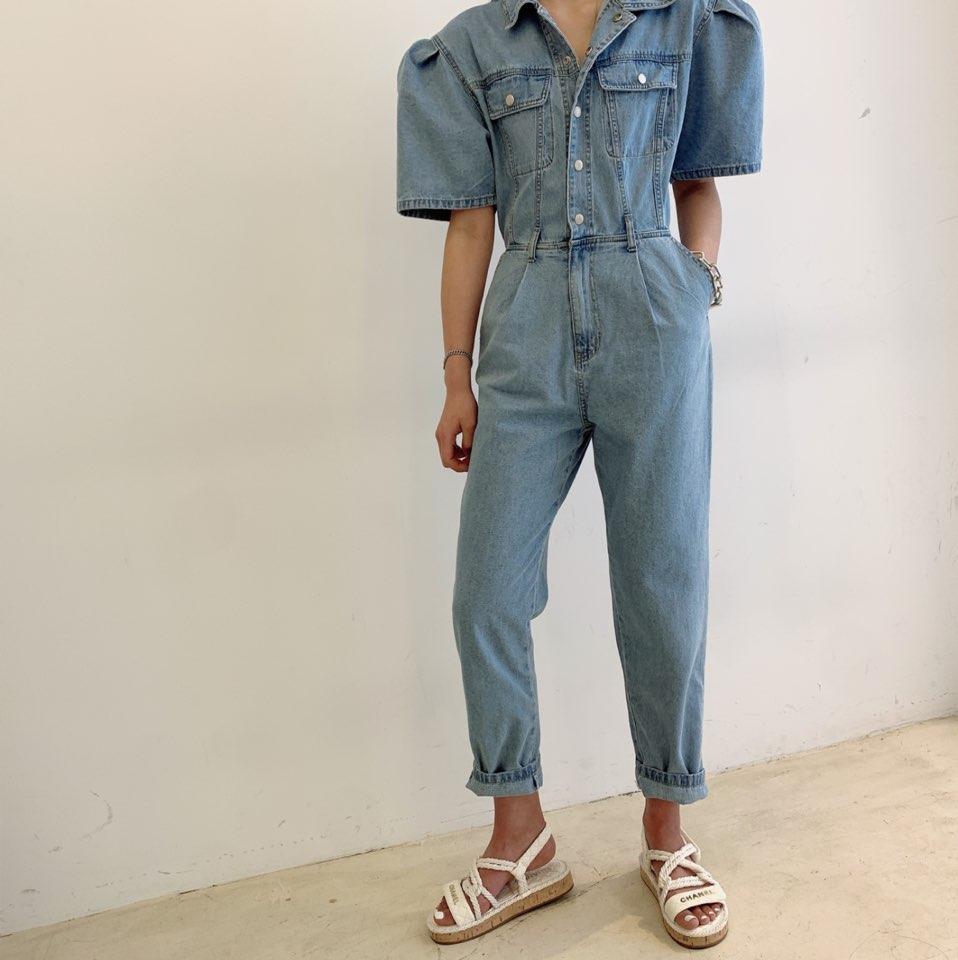 2020 Summer New Fashion Puff Short Sleeve Lapel Jumpsuits Women High Waist Denim Rompers Womens Jumpsuit Overalls Lady Romper