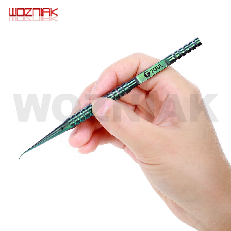 2UUL ไทเทเนียม Tweezer สีเขียว Curned ตรงเคล็ดลับสำหรับโทรศัพท์มือถือเมนบอร์ดซ่อมที่แม่นยำสาย Forceps
