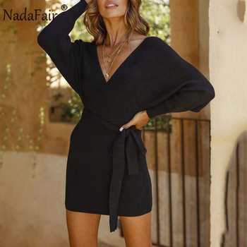 Nadafair Long Sleeve Elegant Tunic Sweater Dress Women Party Bodycon V Neck Casual Mini Slim Knitted Warm Winter Dress
