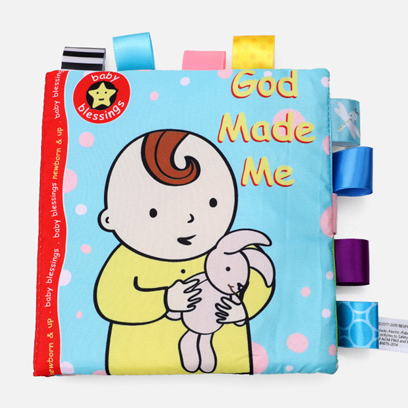 God Made Me And Animal Baby Label Cloth Book Tear Not Bad Parent-child Interaction Infant Puzzle Early Education Cloth Book Toy