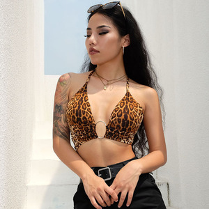 Image 1 - Leopard Printed Sexy Halter Crop Top Women Camis Backless Bandage Lace Up Sequins Metal Ring Tank Top 2020 Party Club Bustier