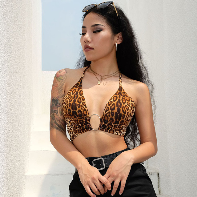 Leopard Printed Sexy Halter Crop Top Women Camis Backless Bandage Lace Up Sequins Metal Ring Tank Top 2020 Party Club Bustier