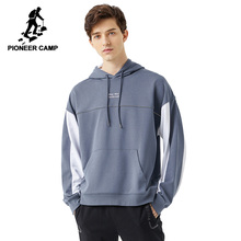 Pioneer Camp 2020 Spring Hoodies Men Streetwear Gray White Hit Color Cotton Causal Hooded Sweatshirts Mens ALY0105076