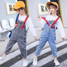 Girls Denim Jumpsuit Kids Overalls Playsuit For Teen Girls Blue Gray Jeans Overalls for Teenagers 4 5 6 7 8 9 10 12 13 Years Old