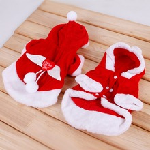 PChristmas Puppy Dog Clothes Sets Santa Claus Coats with Angel Wing Cap Winter Pet Fleece Cosplay Costume PGM