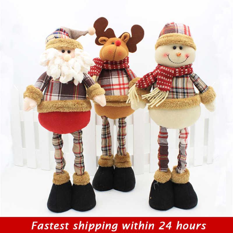 Natal Dekorasi 3 Pcs Santa Claus + Snowman + Elk Boneka Ditarik Berdiri 35-47 Cm Boneka Anak-anak natal Tahun Baru Hadiah Mainan