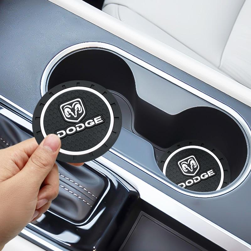 2pcs Car-Styling PVC Car Non-slip Coaster Mat Case For Jeep Dodge Challenger Ram 1500 2500 3500 Caliber Dart Nitro Accessories