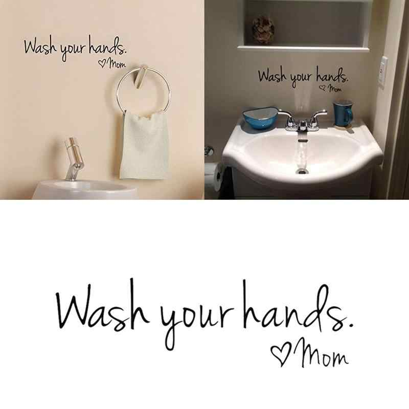 Banyo duvar çıkartmaları-ellerinizi yıkayın aşk anne-PVC dekor Sticker duvar vinil su geçirmez duvar aşk sınıf sanat çıkartması removab A4S4