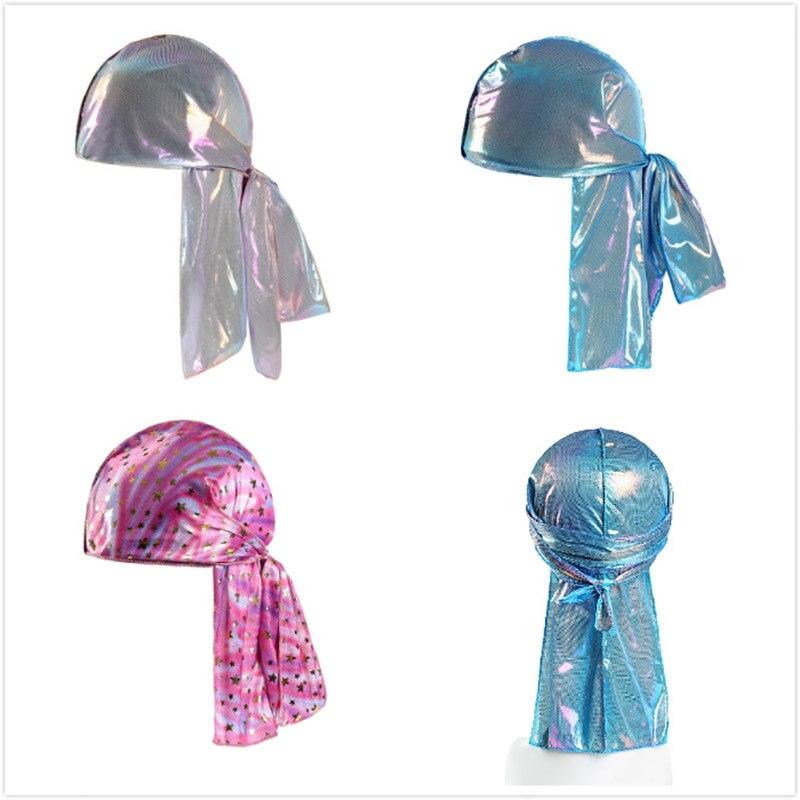 Image 2 - Children Silk Long Tail Pirate Hat Headscarf Hip Hop Cap Bandana Turban Headwear Boys Hip Hop Cloak Hat Hair Accessories-in Boy's Hats from Apparel Accessories