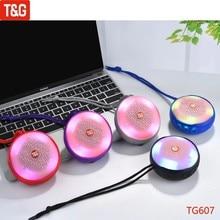 TG607 Mini Bluetooth Speaker Portable Handheld Speakers Wireless Waterproof Loudspeaker Support FM TF AUX USB with LED Light