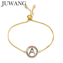 Cubic Zirconia A-Z Initial Letter Charm Rainbow Bracelet Colorful Femme Copper Chain Gold Color For Women Jewelry Adjustable
