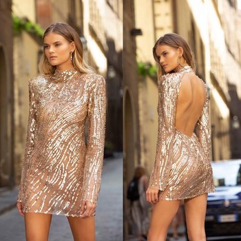 2019 autumn winters in Europe and the new women's wish amazon cross-border hot style glitter sexy backless dress
