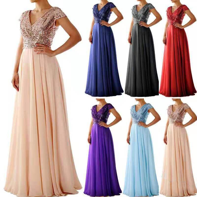 GZJX-0010#V-neck Sequin Chiffon Patchwork Evening Dress Long Party Prom Dress Wholesale Cheap Women Clothing Beige Violet Red
