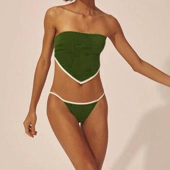 2020 girls bikinis set bikini swimsuit women swimwear wire free swimming low waist sale ruffles green print floral blue stripped