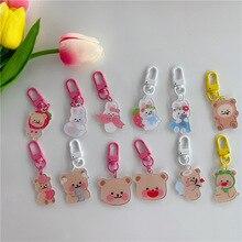 Keychain Pencil-Case Rabbit-Bear Kawaii Cartoon Cute Backpack Girl Ornament Key-Buckle