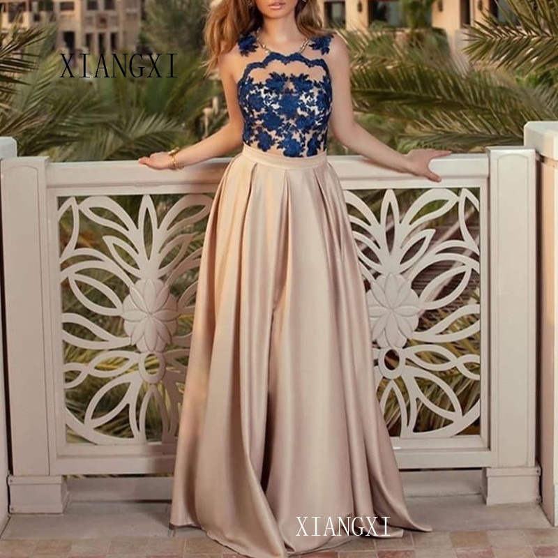 2020 Champagne Formal Gowns Long Satin A-Line Lace See Through Floor Length Evening Dresses Party Dress Abendkleider