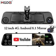 Hgdo câmera de ré de 4g, 12 '', adas, dvr, android 8.1, stream, retrovisor, fhd 1080p, wi-fi gravador de vídeo do câmera gps
