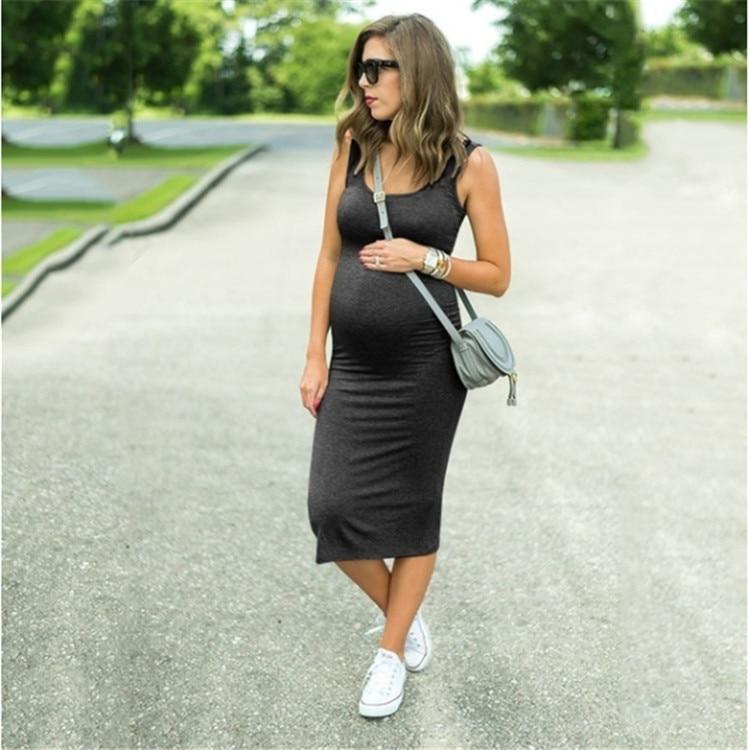 Pregnant Women Strap Summer Bodycon Party Mini Dress Maternity Clothes Plus Size