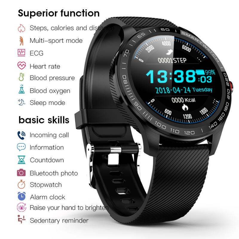 L9 Full Touch Smart Watch IP68 Waterproof Bluetooth Smart Bracelet  Men Women ECG PPG Heart Rate Blood Pressure Oxygen Monitor